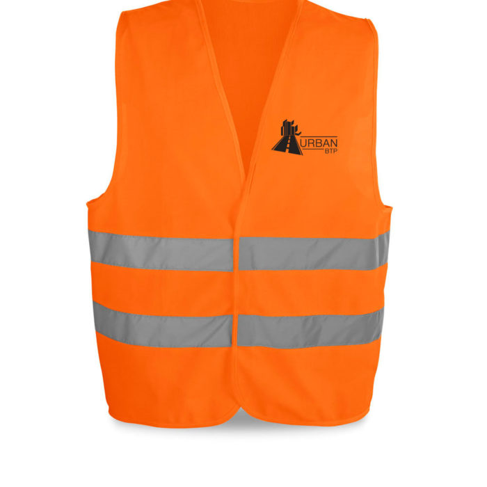 Gilet orange impression serigraphie flocage